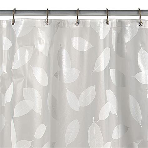 cool vinyl shower curtains buy modern leaf white vinyl shower curtain from bed bath