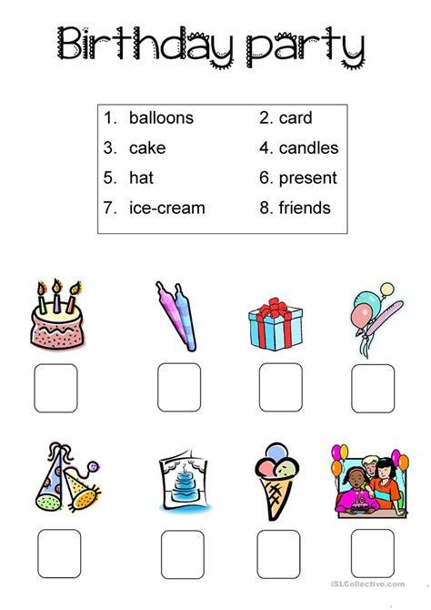 printable birthday activity sheets birthday party simple worksheet worksheet free esl