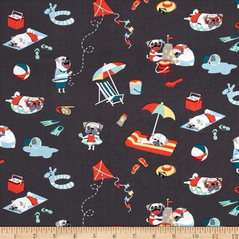 pug fabric michael miller pugs day multi discount designer fabric fabric