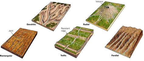 drainage pattern and types types of drainage patterns