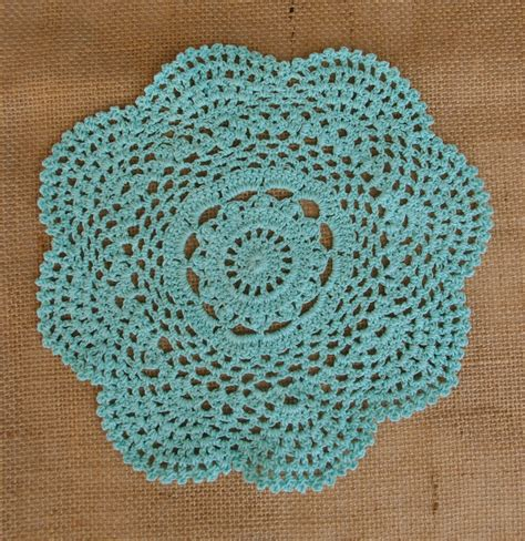 Handmade Doilies - 8 quot handmade cotton crochet doilies cool mint 2 pack
