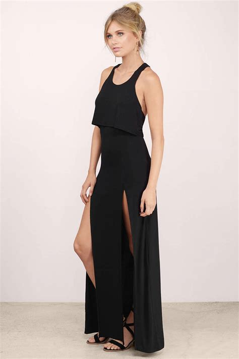 Dress Slit black maxi dress front slits dress maxi dress