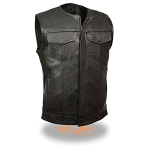 Premium Vest Zipper Harley Davidson 3 collarless leather motorcycle vests anarchy zipper