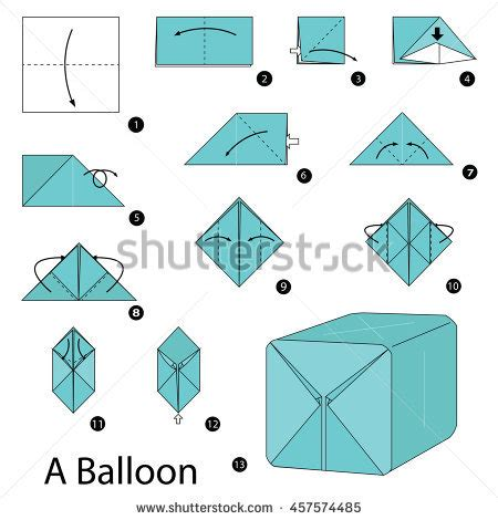Origami Balloon Step By Step - step by step how make stock vector 675475897