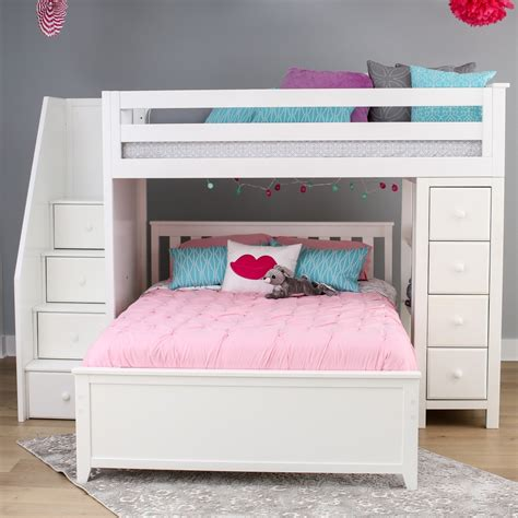 kids loft bed with storage jackpot staircase twin full loft bed storage white