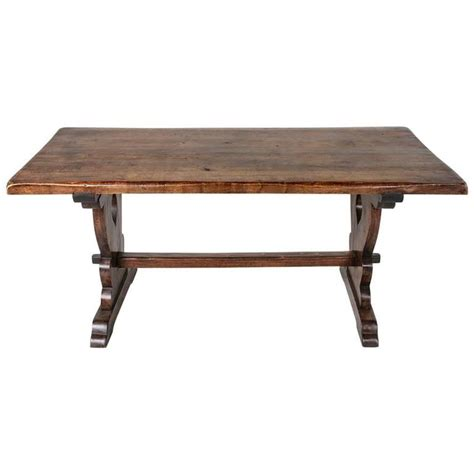 Monastery Dining Table Small Scale Monastery Dining Table Of Solid Beechwood With Trestle Base At 1stdibs