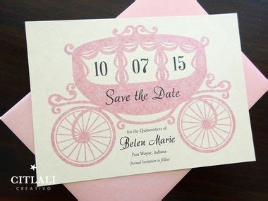 Fairytale Horse Carriage Quincea 241 Era Or Birthday Save The Dates In Pink Or Any Color Made To Free Quinceanera Save The Date Templates