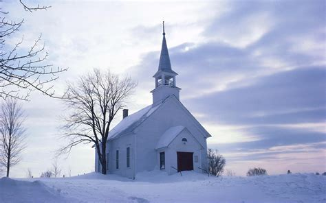 country church winter wallpaper