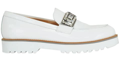 mens white patent leather loafers embellished patent leather loafers in white for