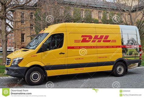 yellow light delivery service dhl courier van editorial photo cartoondealer com 56976081