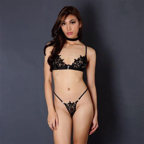 Bra Gstring Lgw6012 Black Set set black bralette black lace bralette black g
