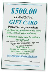 Flanigans Gift Card - flanigan s frontier shop