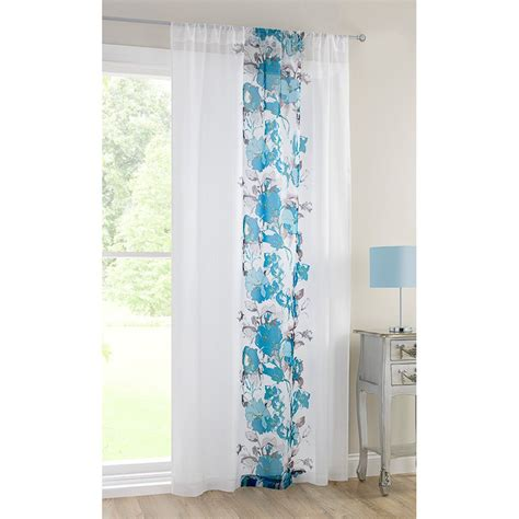 Teal Floral Curtains B M Rosa Floral Printed Voile Curtain 140 X 222cm Teal 3102685