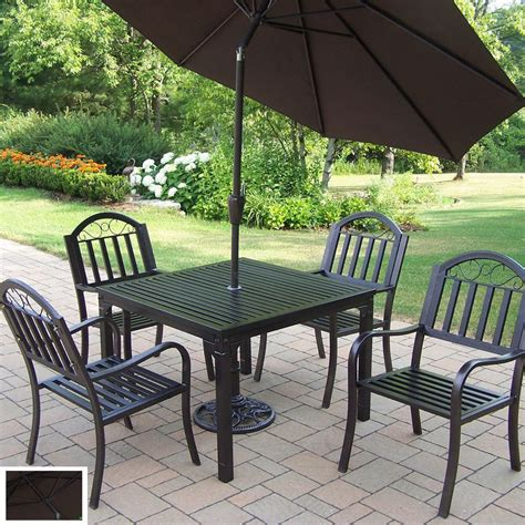 Shop Oakland Living 5 Piece Slat Wrought Iron Patio Dining Wrought Iron Patio Dining Set