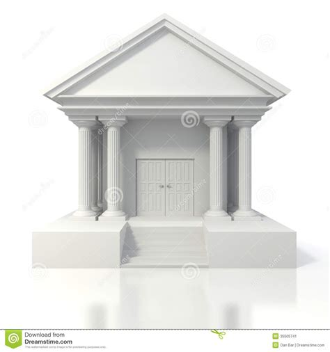 d bank banking 3d icon of vintage bank building stock illustration