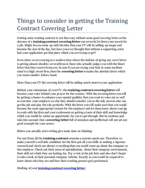 Things to consider in getting the training contract