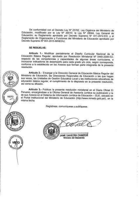decreto supremo n 010 2015 minedu modifica el reglamento dise 241 o curricular nacional modificado por rm 199 2015 minedu