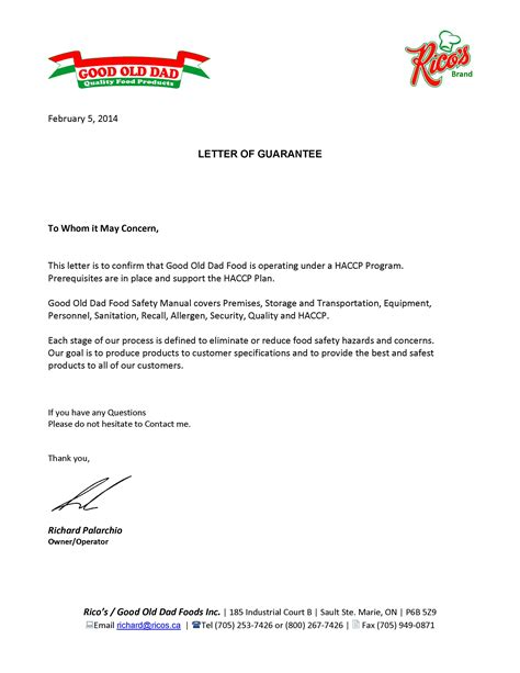 Guarantee Letter To Customer Ontario Plant 6230 Certification Ricos Letter Of Guarantee