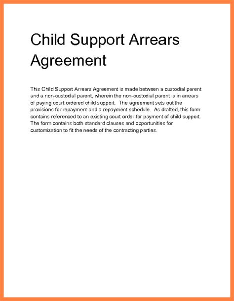 Child Support Agreement Letter Exle 6 Child Support Arrears Settlement Marital Settlements Information