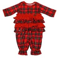 Tartan Ruffle Jumpsuit Size S new icm infant toddler