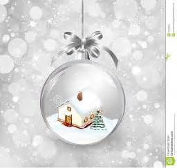 glass ball christmas with a little house snow stock photo image 45925636