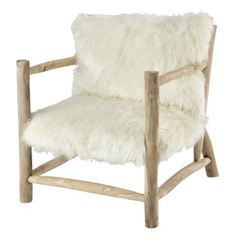 Armchair White by Faux Fur Armchair In White Alaska Maisons Du Monde