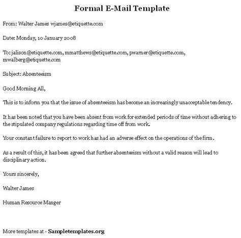 e mail template for formal format of formal e mail