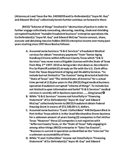 58th District Court Records Amend U S Civil Complaint Louis Charles Hamilton Ii Vs Chief Defend