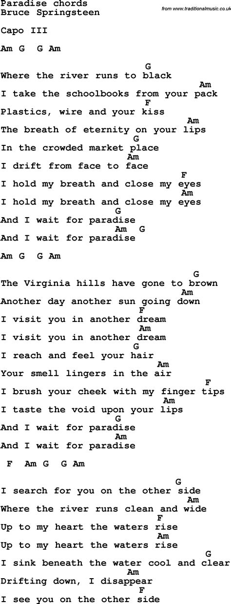 Song lyrics with guitar chords for Paradise - Bruce
