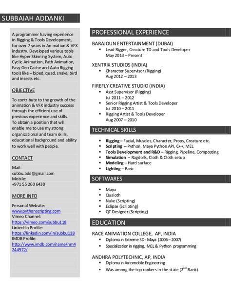 resume format freshers vfx artist resume subbu addanki
