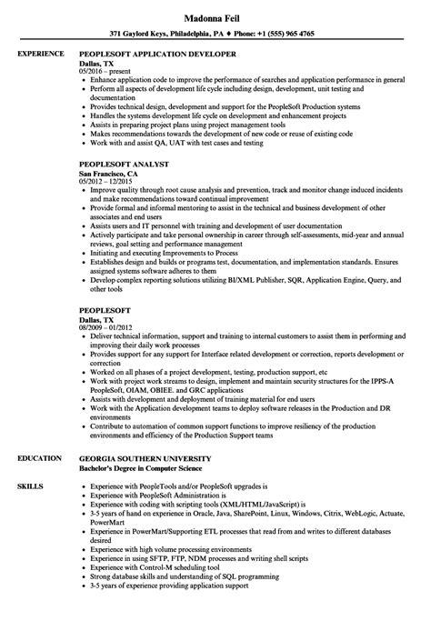 peoplesoft resume sles velvet