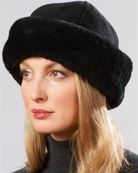 womens alaska shearling sheepskin trapper winter hat