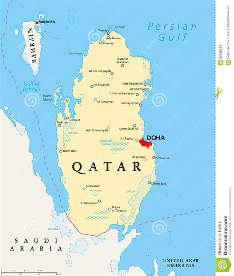 political map of qatar qatar political map stock vector image 62735384