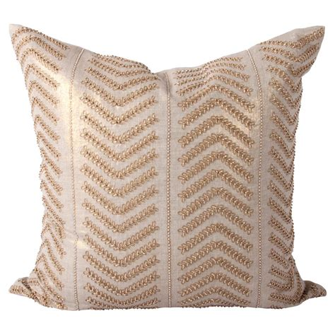 Decorative Beaded Pillows by Cahaya Global Gold Embroidered Beaded Decorative Pillow