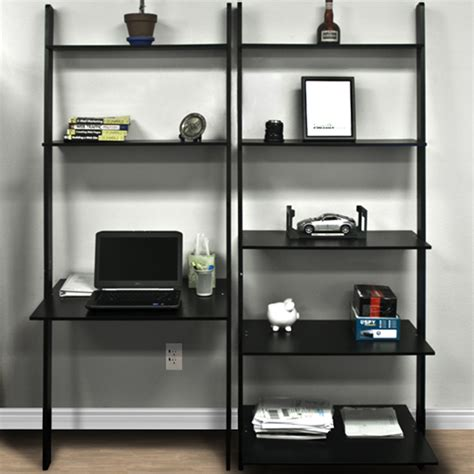 Leaning Shelf Bookcase With Computer Desk Office Furniture Desk And Bookshelves