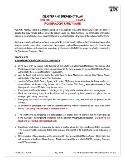 emergency action plan sample in word and pdf formats page 4 of 20