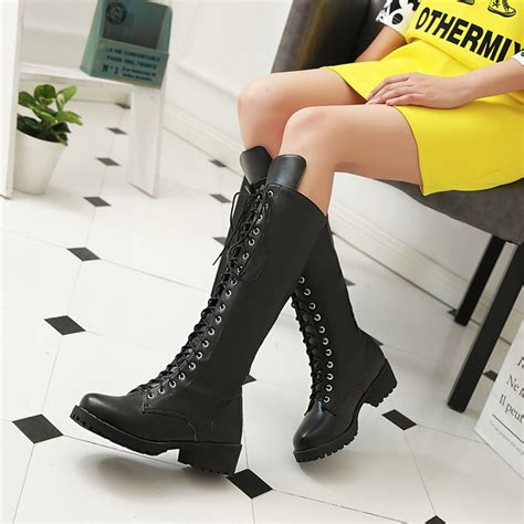 lace up motorcycle new women motorcycle boots lace up knee high boots for