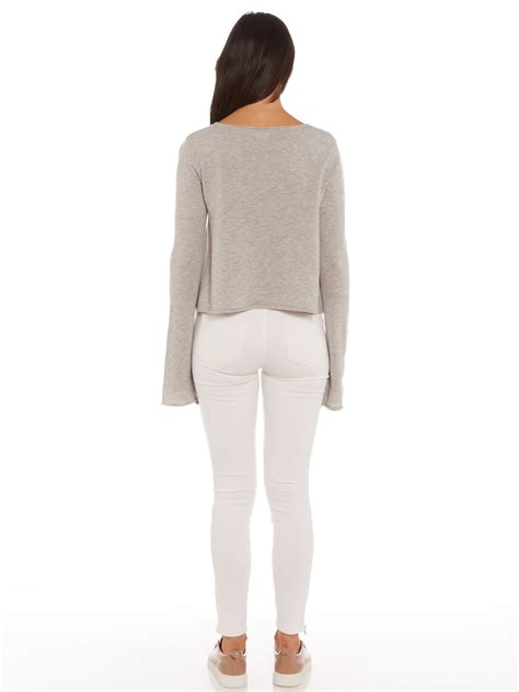 Flare Sleeve Sweater interval flare sleeve sweater in grey