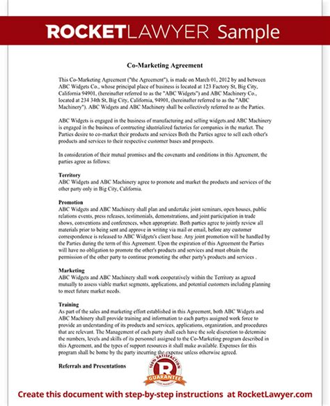 co marketing agreement template co marketing agreement joint marketing agreement template