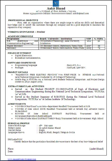 Resume Format Doc For Freshers Engineers Beautiful One Page Resume Cv Sle In Word Doc Of A B E E C Bachelor Of Electronics