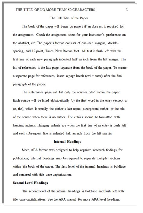 Headings In Apa Format Research Paper