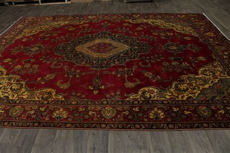 10 X 12 Area Rugs Vintage Washed by Antique Gold Washed Handmade Tabriz Area Rug