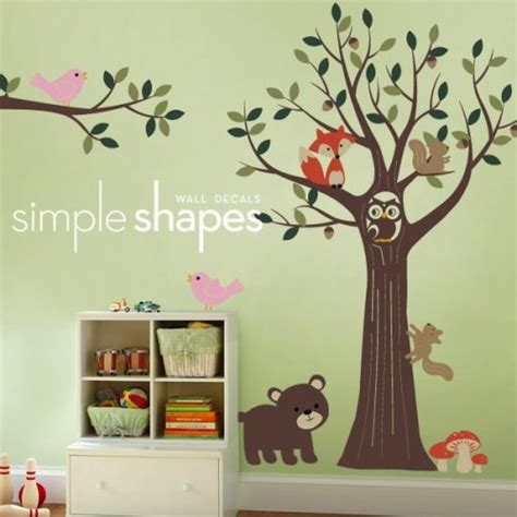 tree with forest friends decal set nursery room