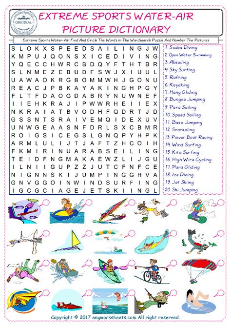 Air Finder Sports Water Air Find And Circle The Words In The Wordsearch Puzzle And Number