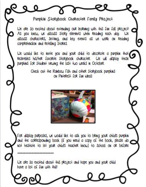 Parent Letter For Thanksgiving Feast Pumpkins Parents And Storybook Characters On