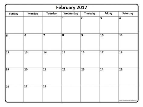 Calendar For February February 2017 Calendar Weekly Calendar Template