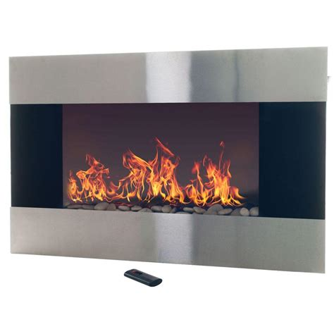In The Wall Electric Fireplace by Northwest 35 In Stainless Steel Electric Fireplace With