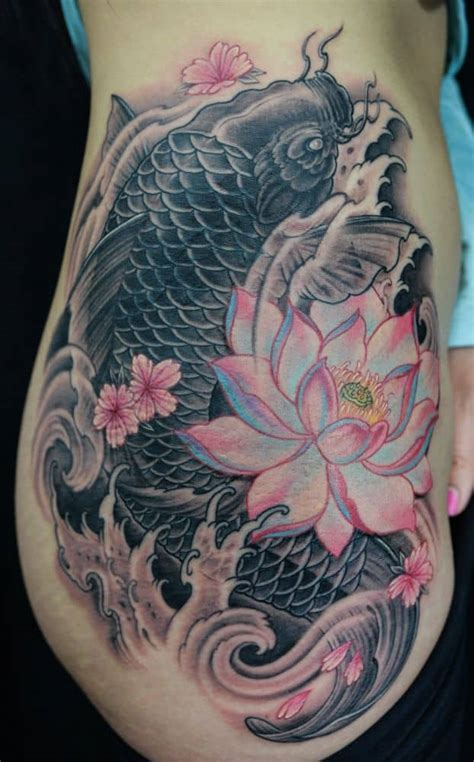 koi fish with lotus flower tattoo designs 42 mind blowing koi designs exles sheideas