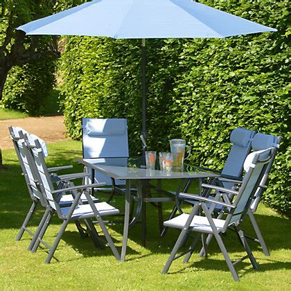 metal garden chairs homebase azore 6 seater metal garden furniture set with parasol