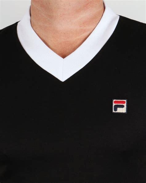 Kaos T Shirt Fila White Black fila vintage carrack v neck t shirt black white mens cotton
